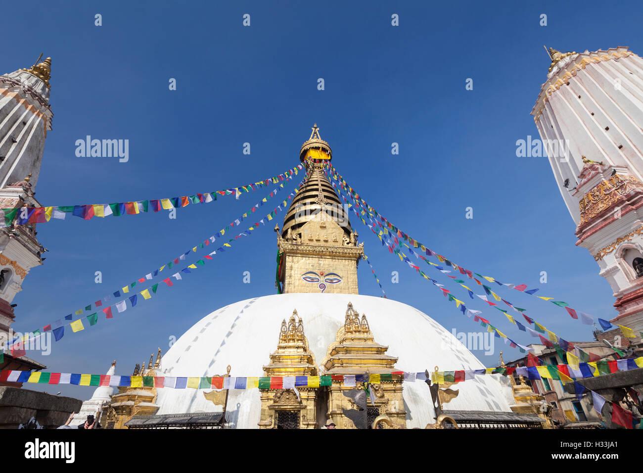 Swayambhunath temple, Kathmandu, Nepal - Stock Image