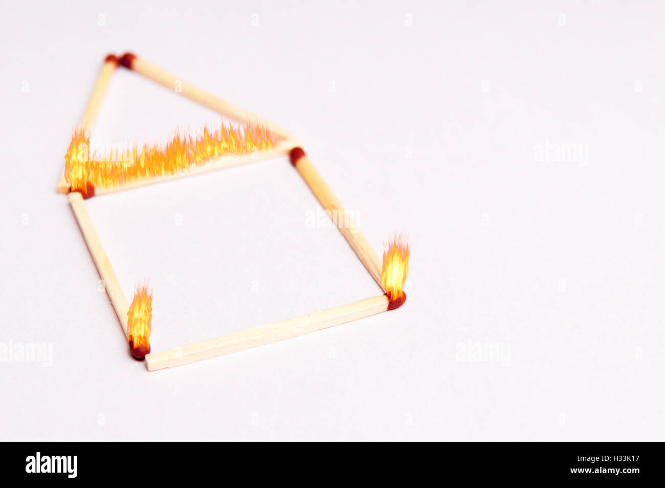 fire safety background concept with matches on fire in the shape of a home - Stock Image