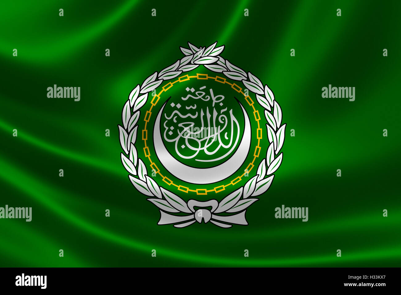 3D rendering of the flag of Arab League on satin texture. The league is a regional organization formed to promote - Stock Image