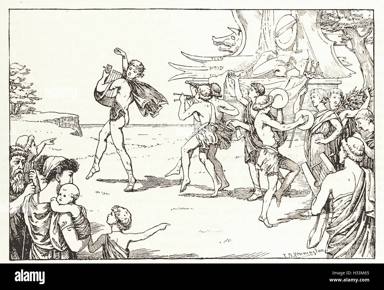 SOPHOCLES LEADING THE CHORUS OF YOUTHS - from 'Cassell's Illustrated Universal History' - 1882 - Stock Image
