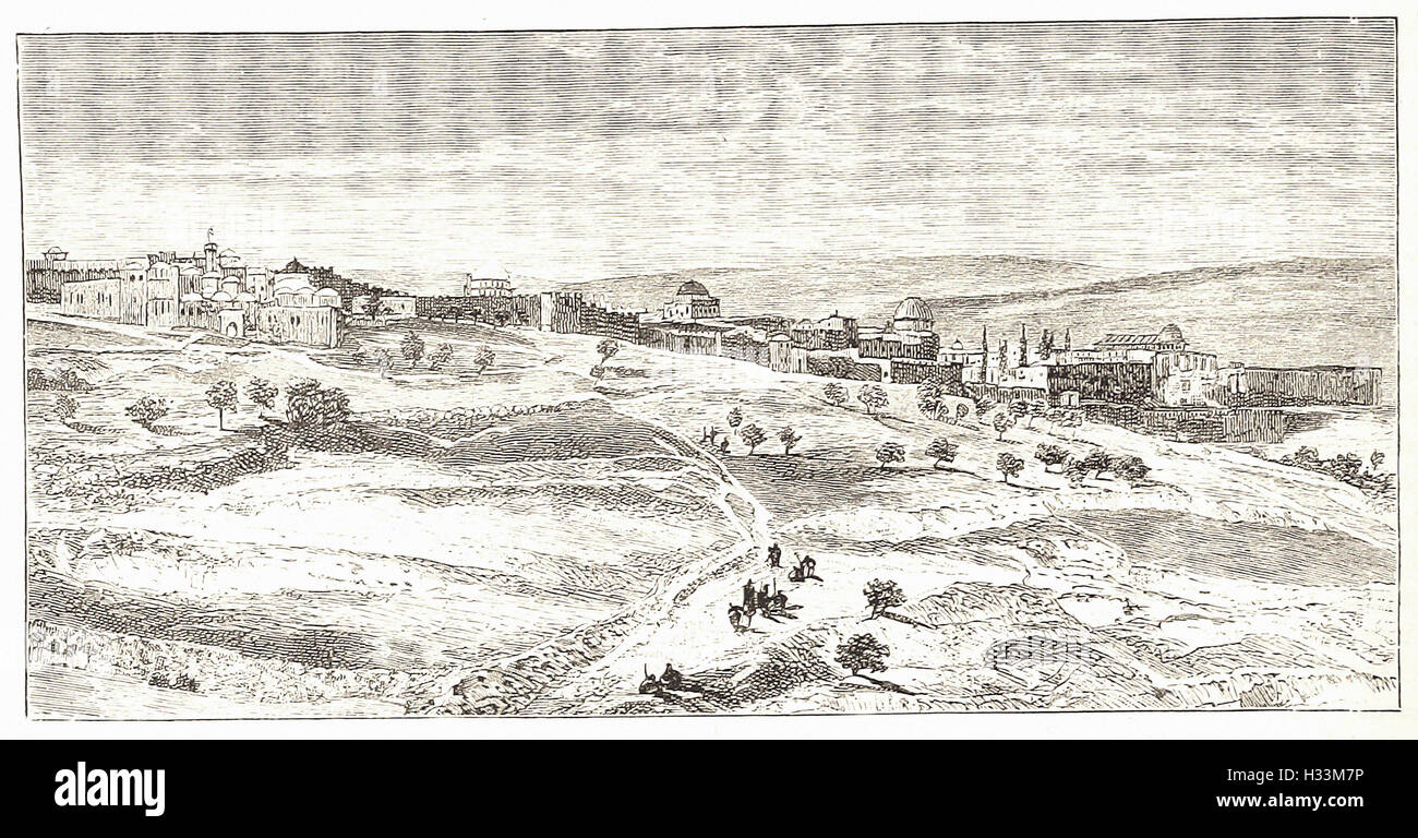 JERUSALEM, FROM THE HILL OF EVIL COUNSEL - from 'Cassell's Illustrated Universal History' - 1882 - Stock Image