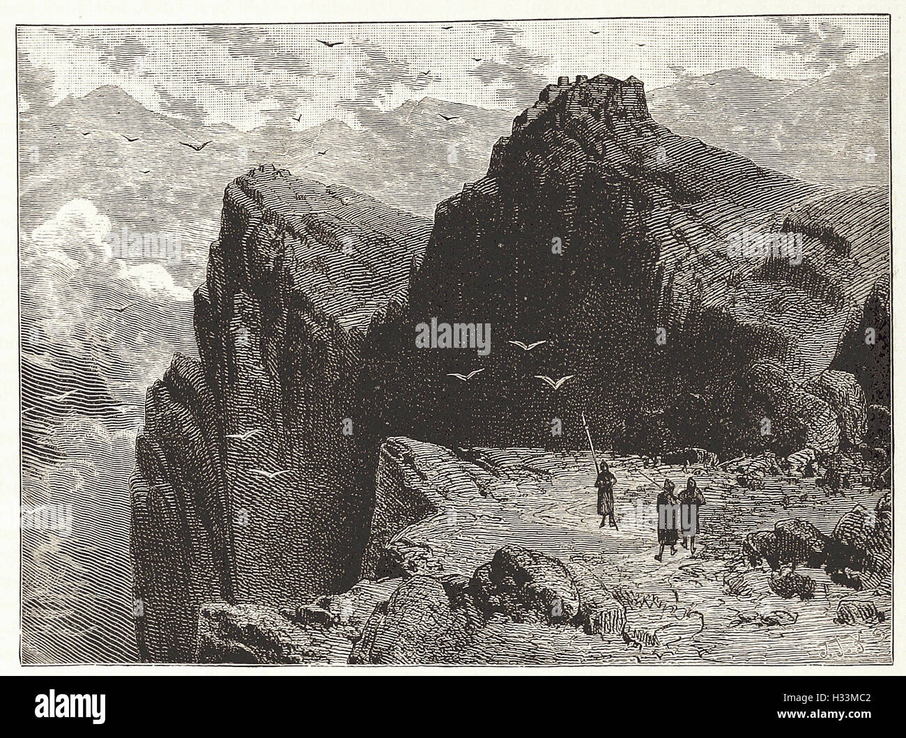 MOUNTAIN SCENE IN EPIRUS - from 'Cassell's Illustrated Universal History' - 1882 - Stock Image