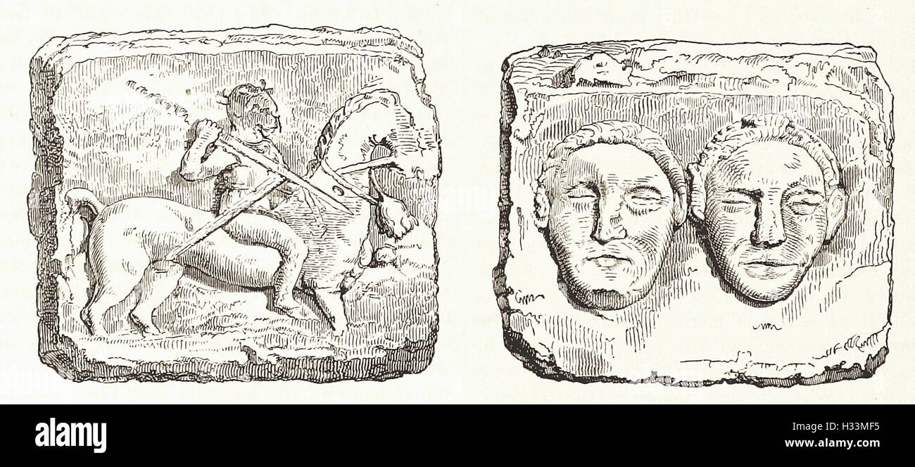GALLIC BAS-RELIEFS FOUND AT ENTREMONT, NEAR AIX- from 'Cassell's Illustrated Universal History' - 1882 - Stock Image