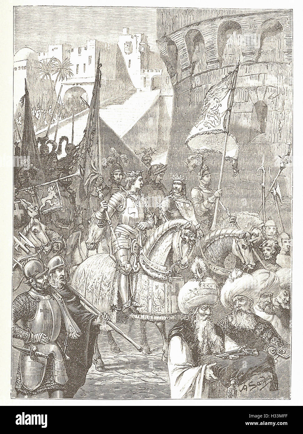 TRIUMPHAL ENTRY OF RTCHARD I. AND PHILIP AUGUSTUS INTO ACRE - from 'Cassell's Illustrated Universal History' - Stock Image