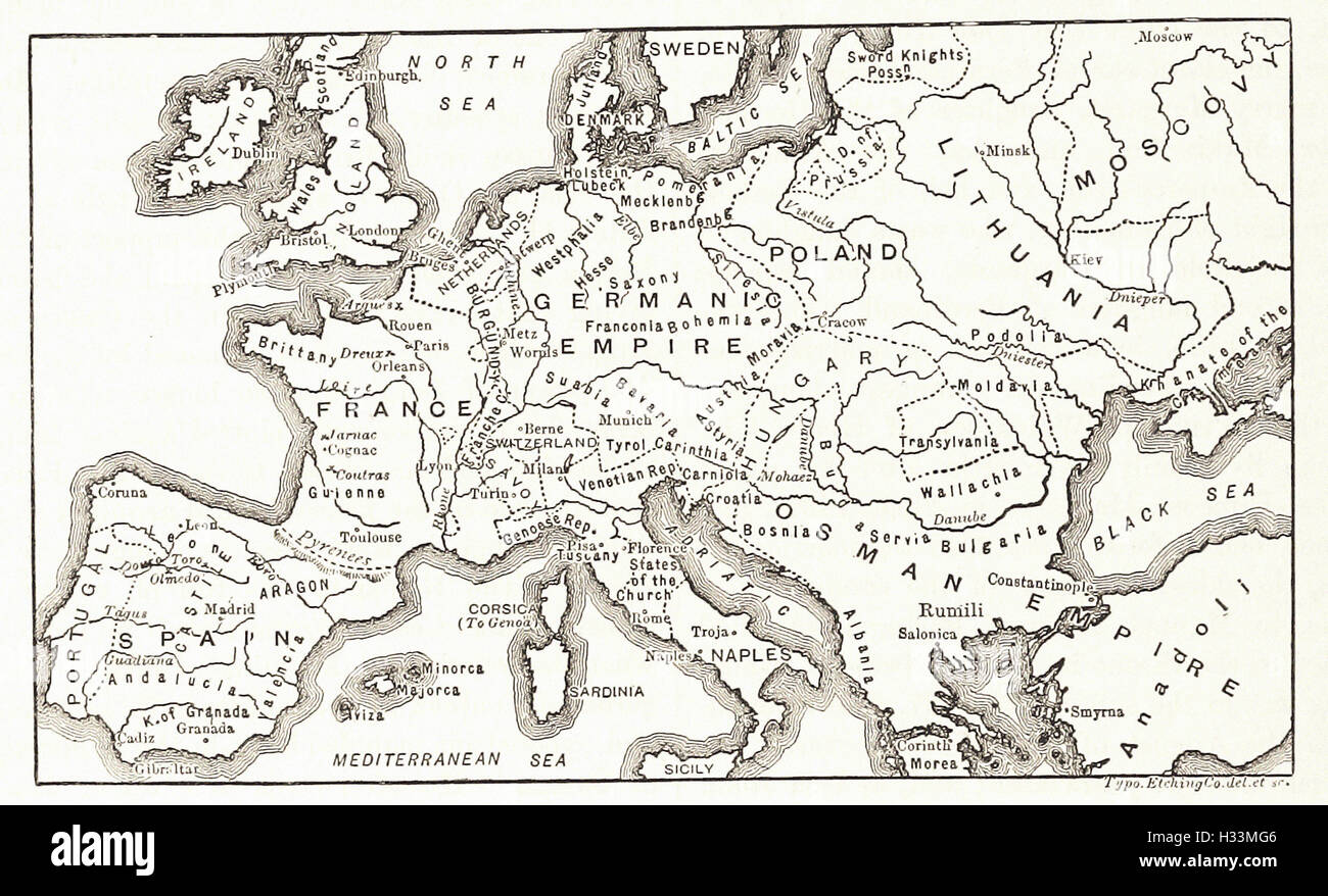 EUROPE IN THE LATTER PART OF THE FIFTEENTH CENTURY - from 'Cassell's Illustrated Universal History' - Stock Image