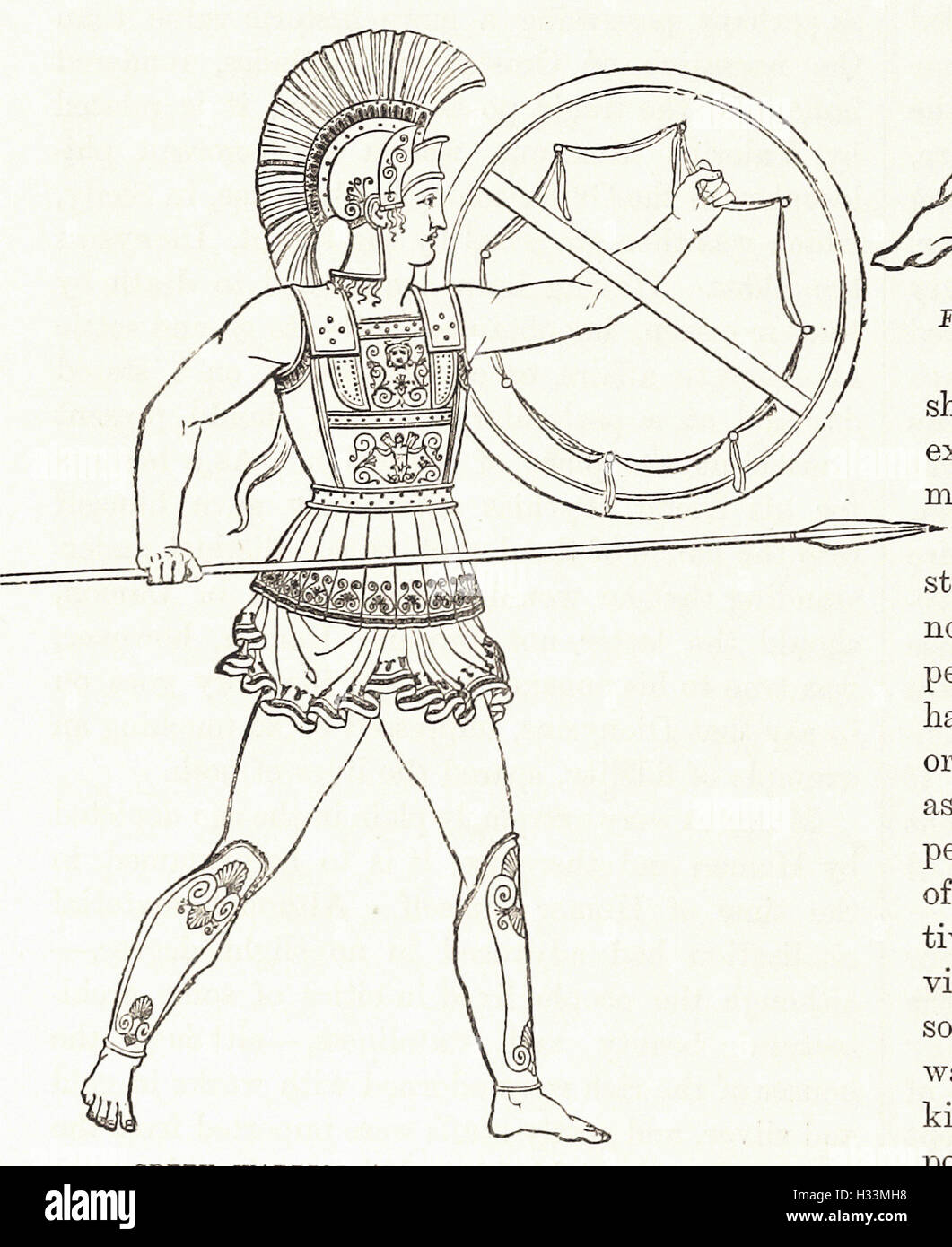 GREEK WARRIOR ARMED WITH SPEAR AND SHIELD - from 'Cassell's Illustrated Universal History' - 1882 - Stock Image