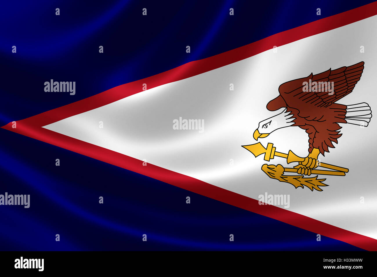 3D rendering of a satin-textured flag of American Samoa, an unincorporated United States territory located in the Stock Photo