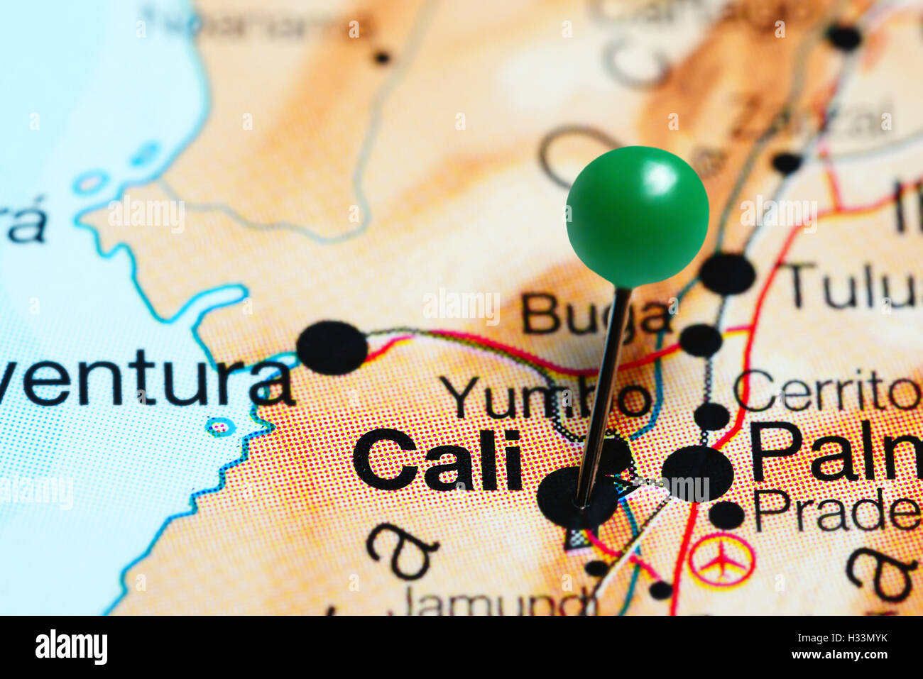 Cali pinned on a map of Colombia Stock Photo: 122398855 - Alamy on