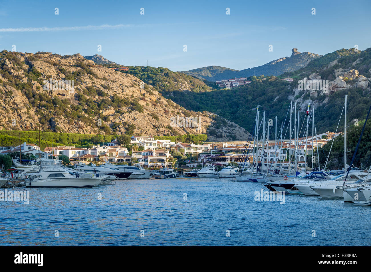 Poltu Quatu luxury resort and marina, Sardinia, Italy. - Stock Image
