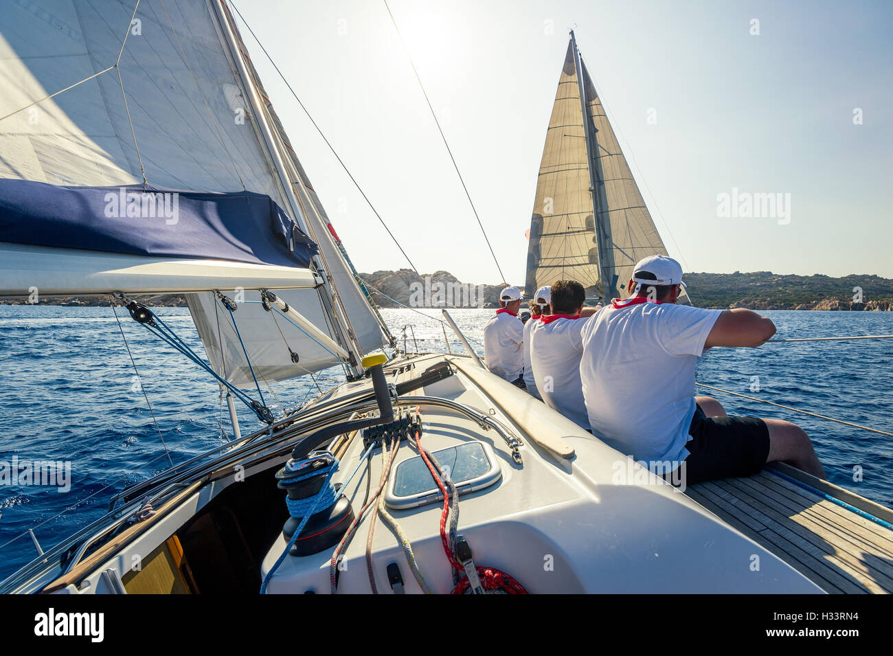 Sailing regatta on charter cruising boats - Stock Image