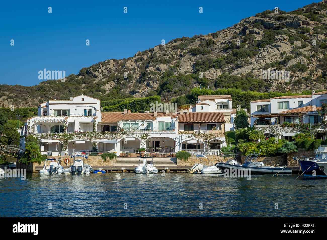 Poltu Quatu luxury resort villge pier, Sardinia - Stock Image