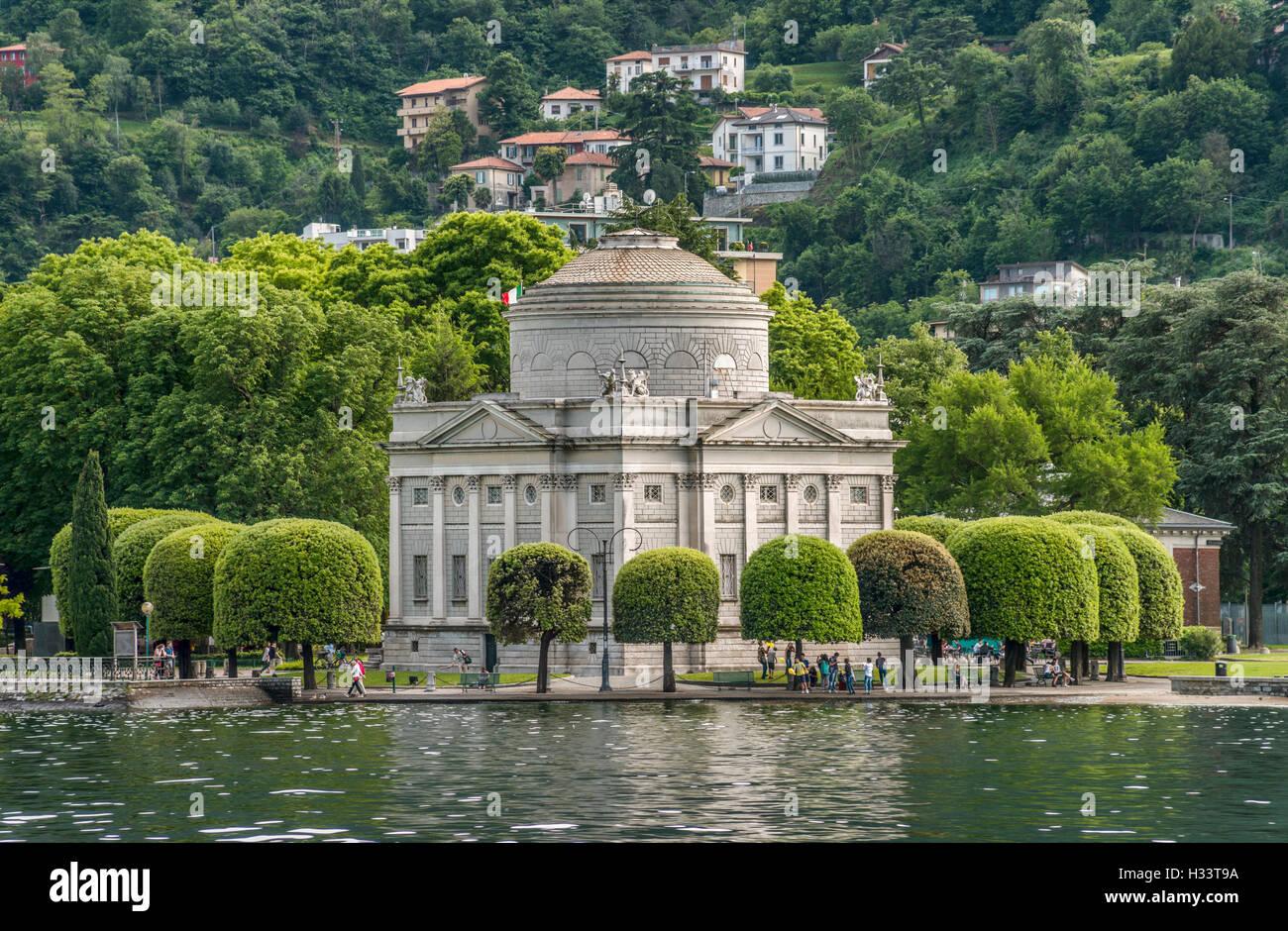 Tempio Voltiano (Volta Temple), a museum in Como, Italy, dedicated to Alessandro Volta, a scientist and inventor - Stock Image