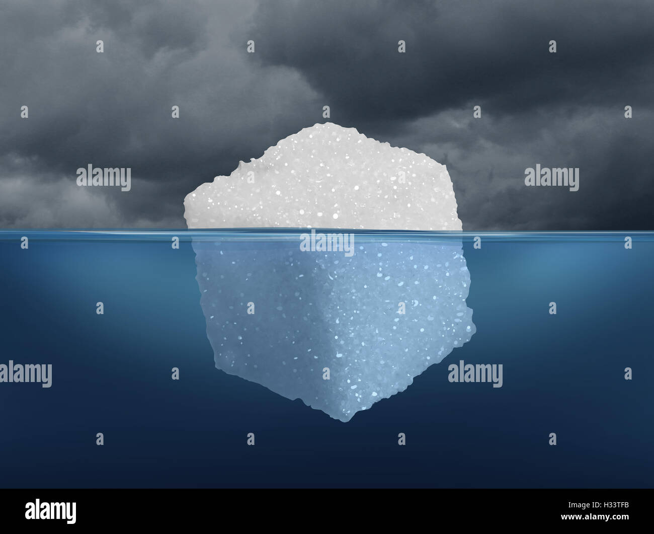 Sugar risk and hidden dietary medical danger concept as an iceberg made from a sugar cube as risky sweet granulated - Stock Image