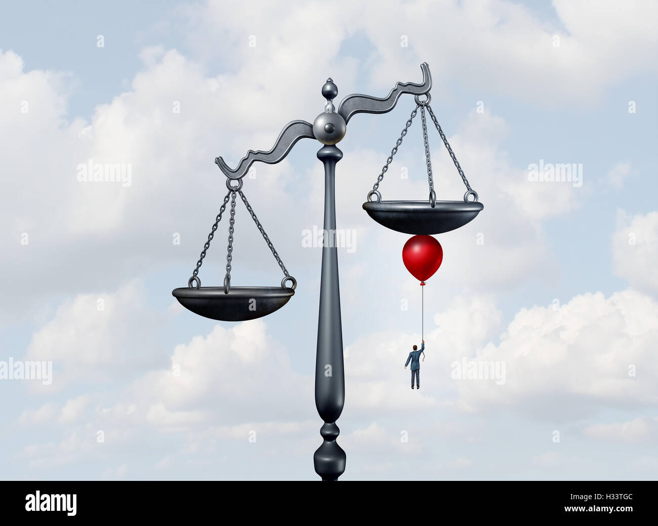 Tipping the scales of justice concept as a justice court scale being moved and influenced by a businessman or lawyer - Stock Image