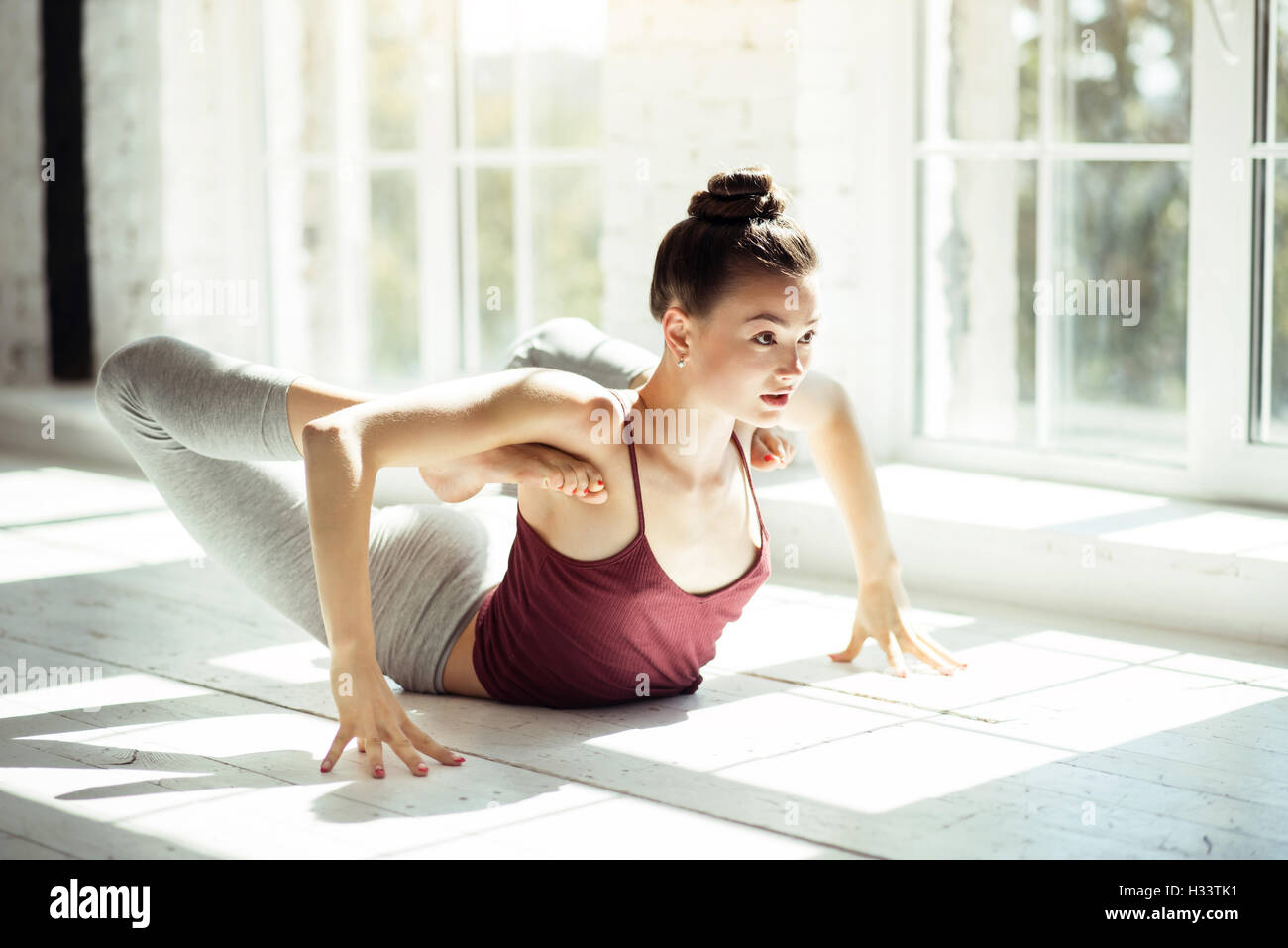 Professional young dancer having a workout - Stock Image