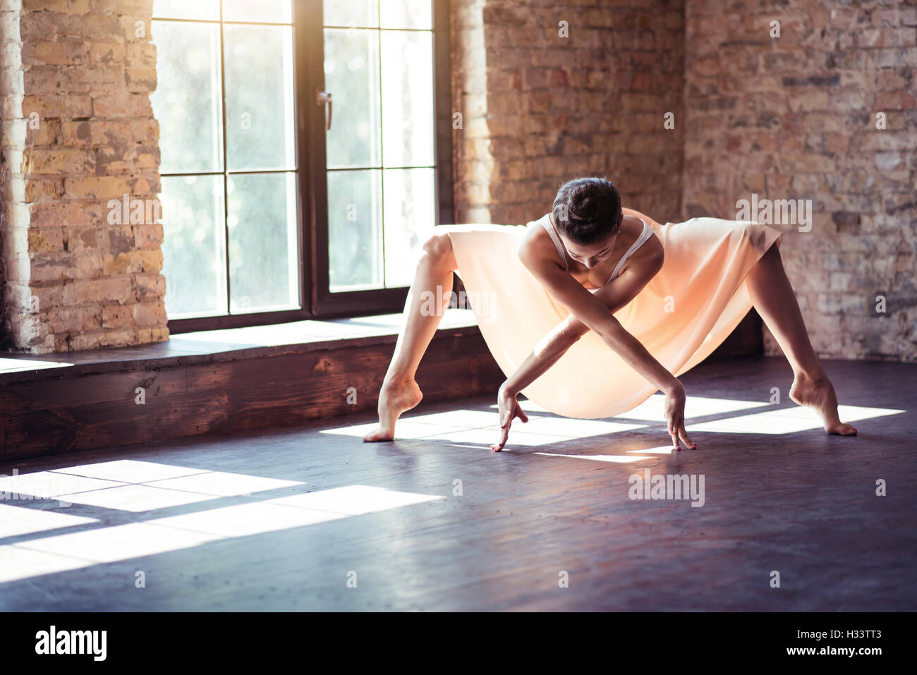 Professional skillful woman dancing - Stock Image