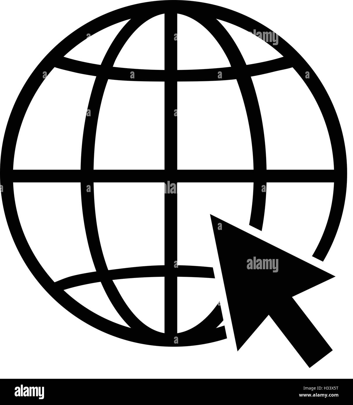 internet globe icon with arrow cursor world wide web symbol black
