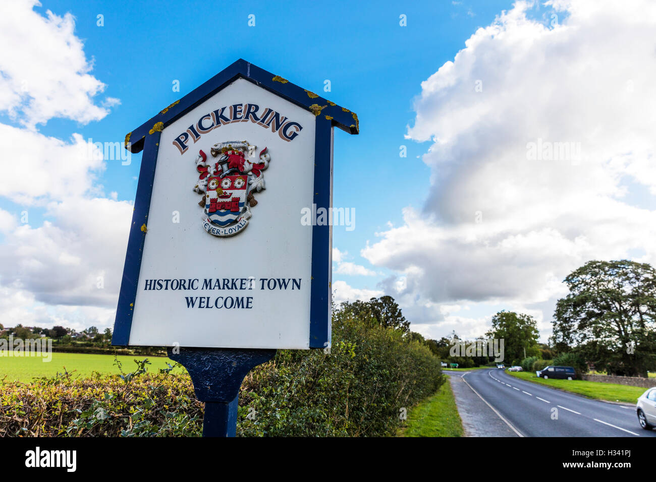 Pickering town sign Yorkshire town towns entrance signs welcome sign UK England GB - Stock Image