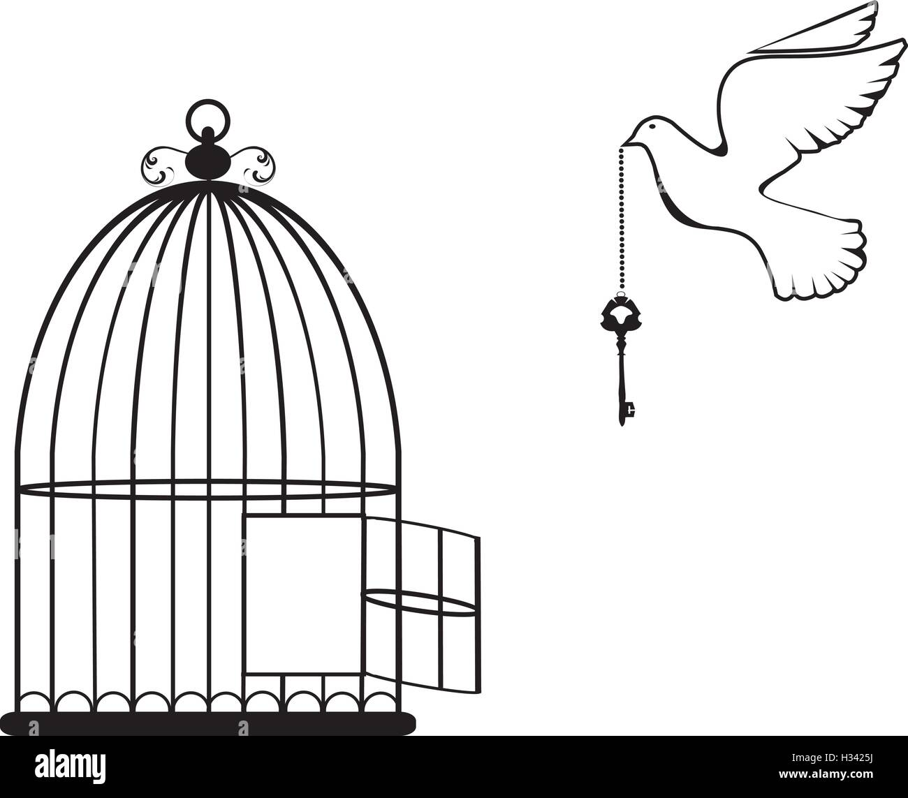 Open Birdcage Silhouette vector illustration of...