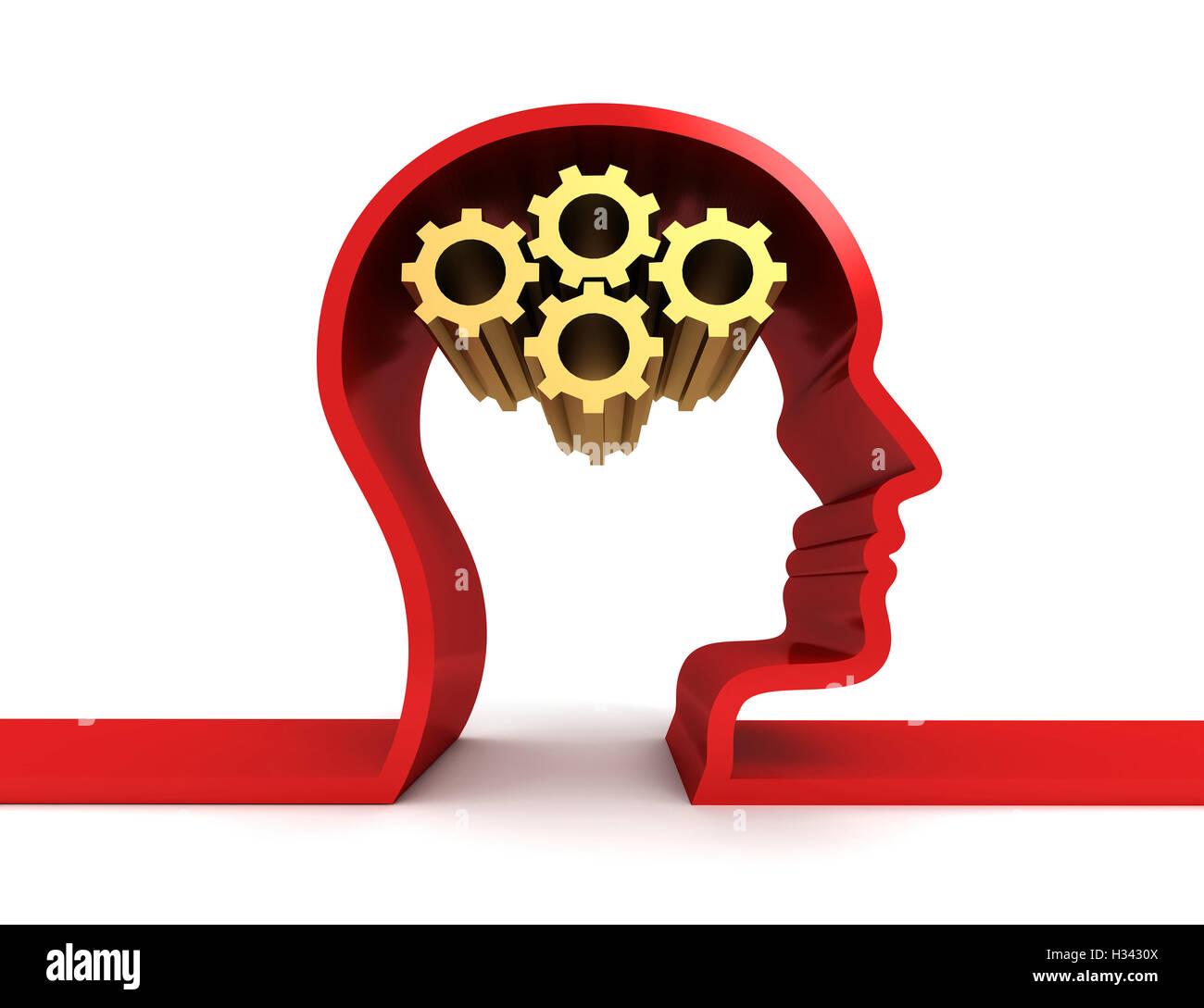 brain gears isolated  3d illustration - Stock Image