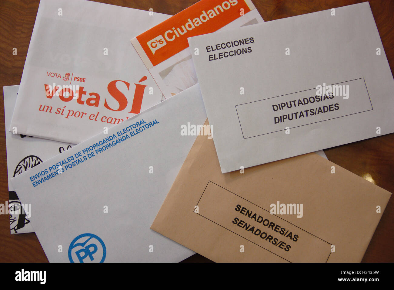 Envelopes for Spanish general election 2016. Envelopes the general elections in Spain. Two types of envelopes to - Stock Image