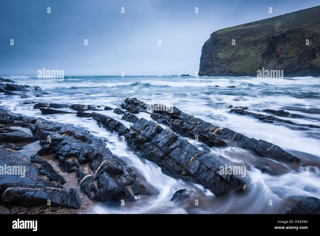 Crackington Haven beach, North Cornwall, England. - Stock Image