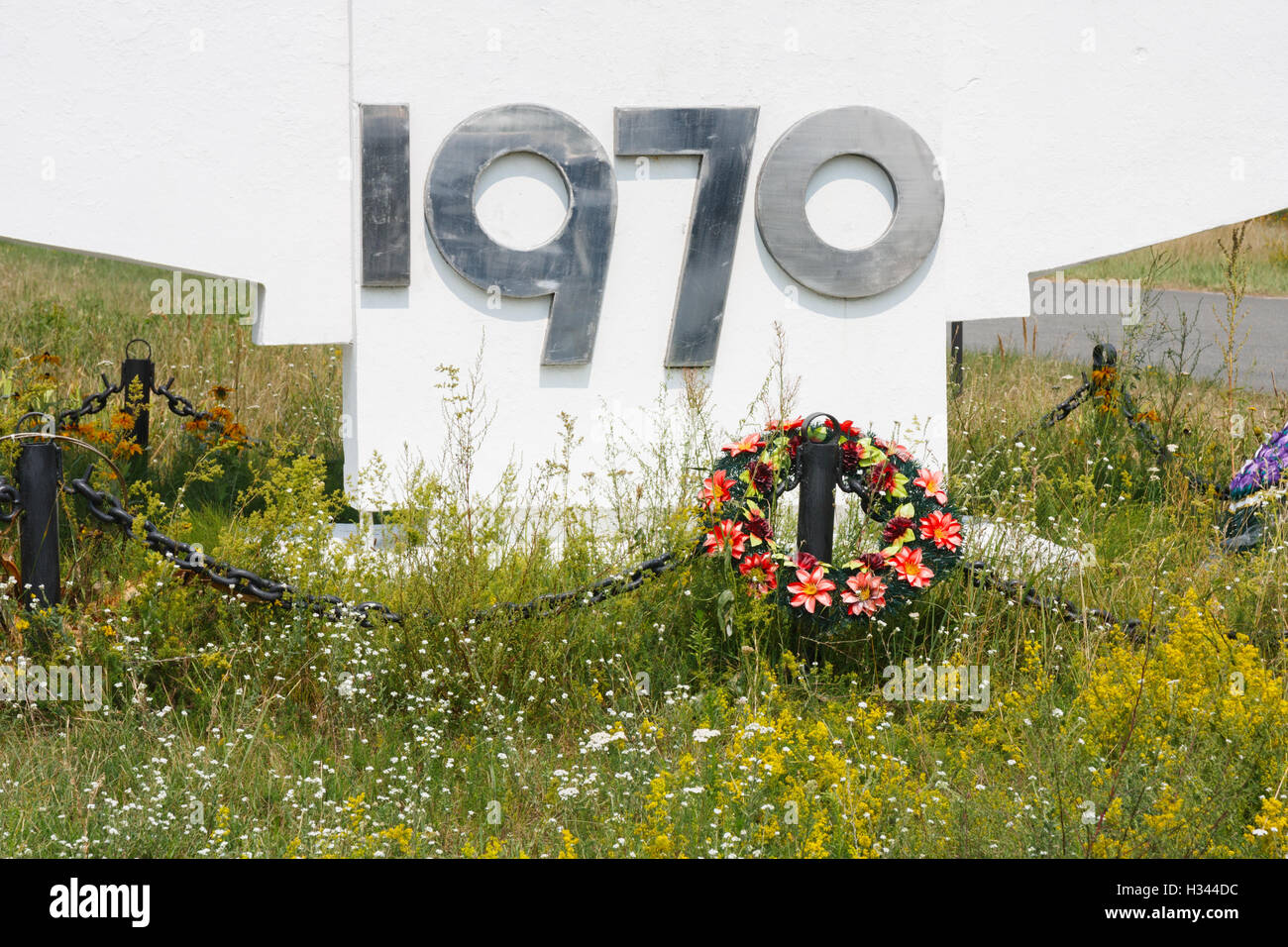 Detail of the Prypiat town sign. The town was founded in 1970 and is abandoned since the 1986 nuclear disaster. - Stock Image