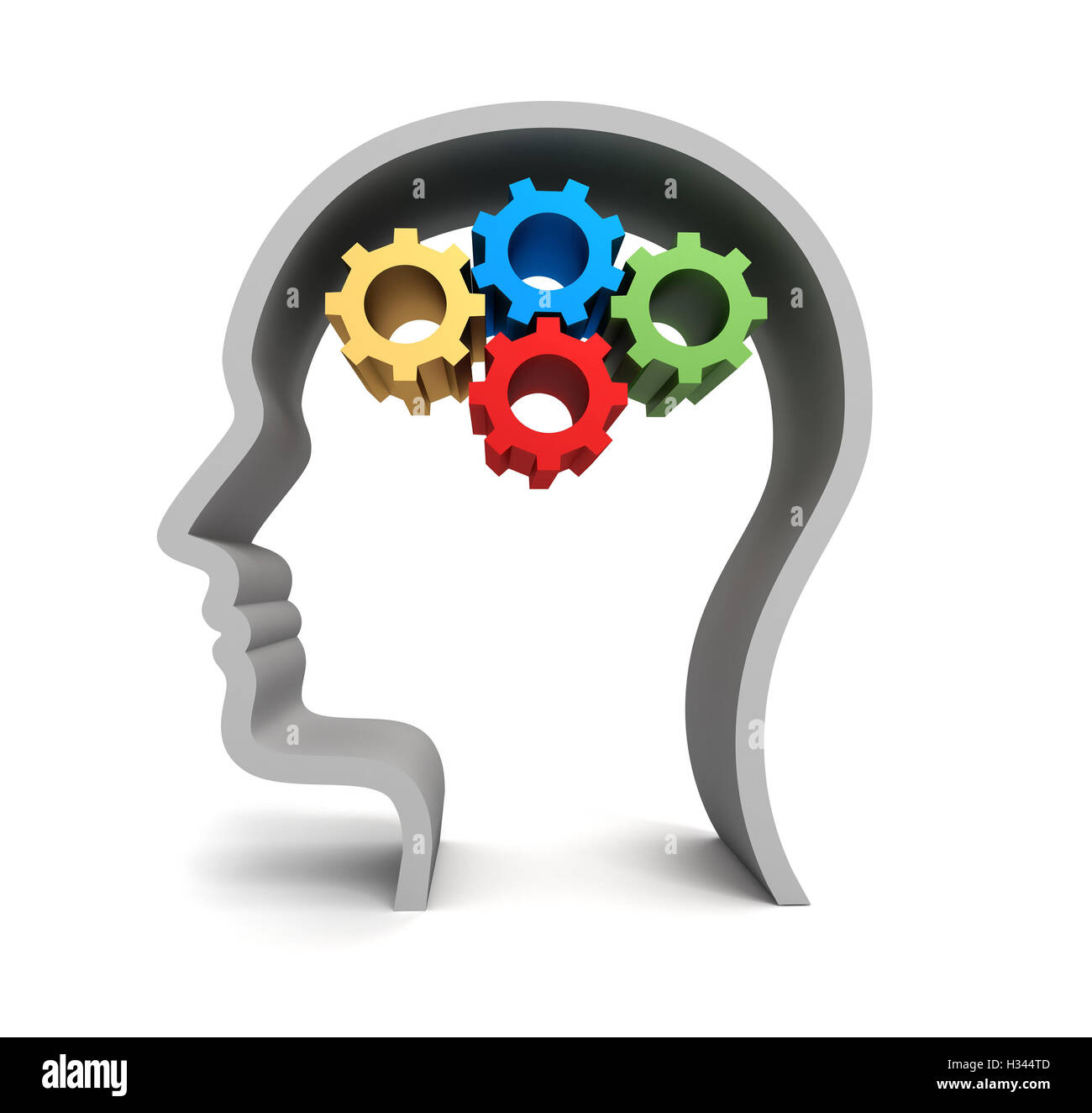 brain gears concept   3d illustration - Stock Image