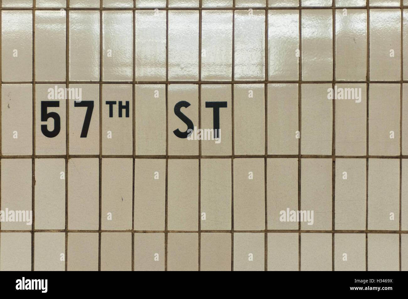 New York City 57th Street Subway Station tile signage - Stock Image