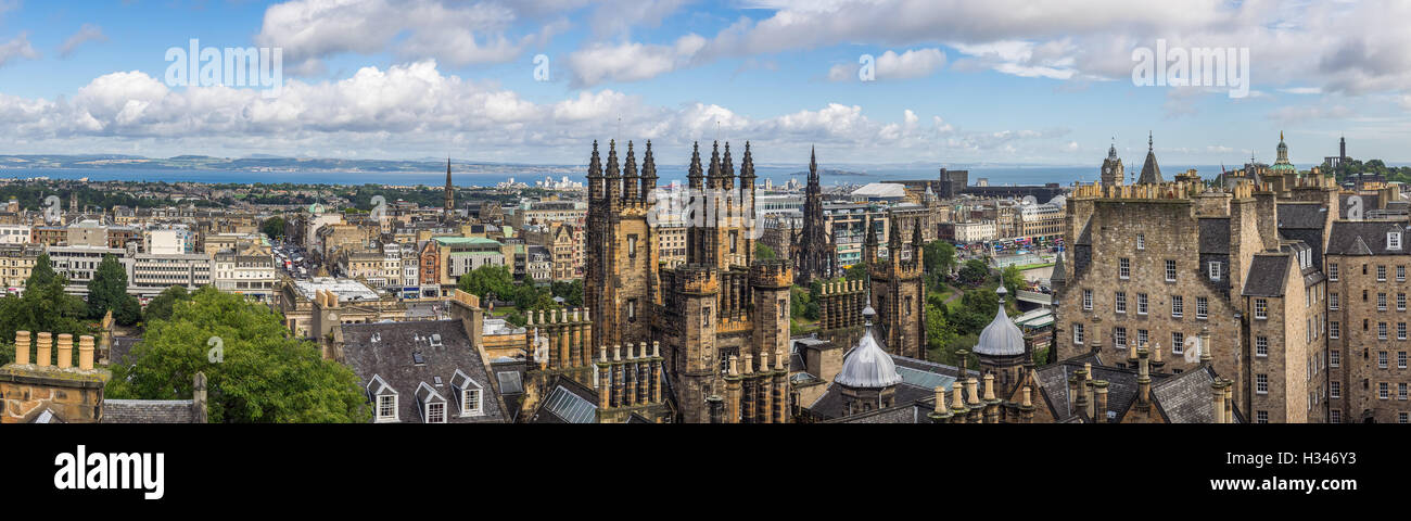 Panoramic view of the centre of Edinburgh in Scotland on a cloudy day Stock Photo