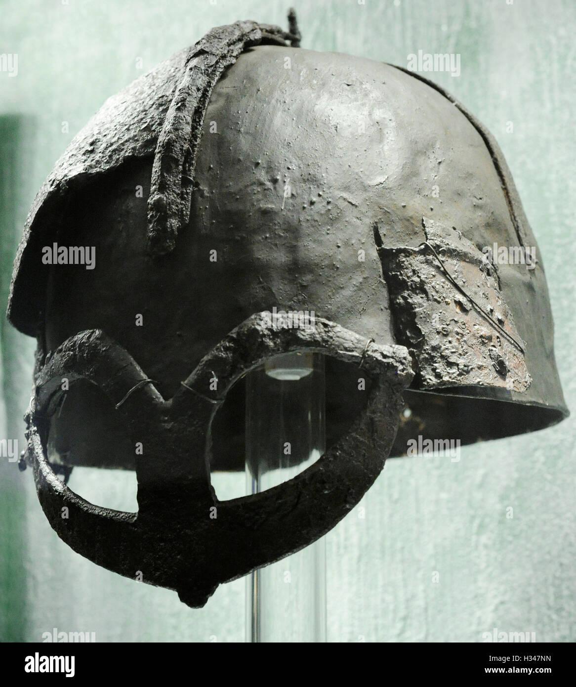 Scandinavia. Viking Age. helmet from chieftain's grave. Iron. Gjermundbu in Ringerike, Eastern Norway. 10th century. Stock Photo