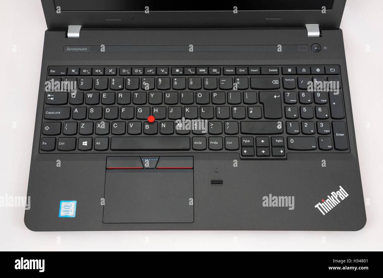 Keyboard for a Lenovo E560 Thinkpad laptop. - Stock Image