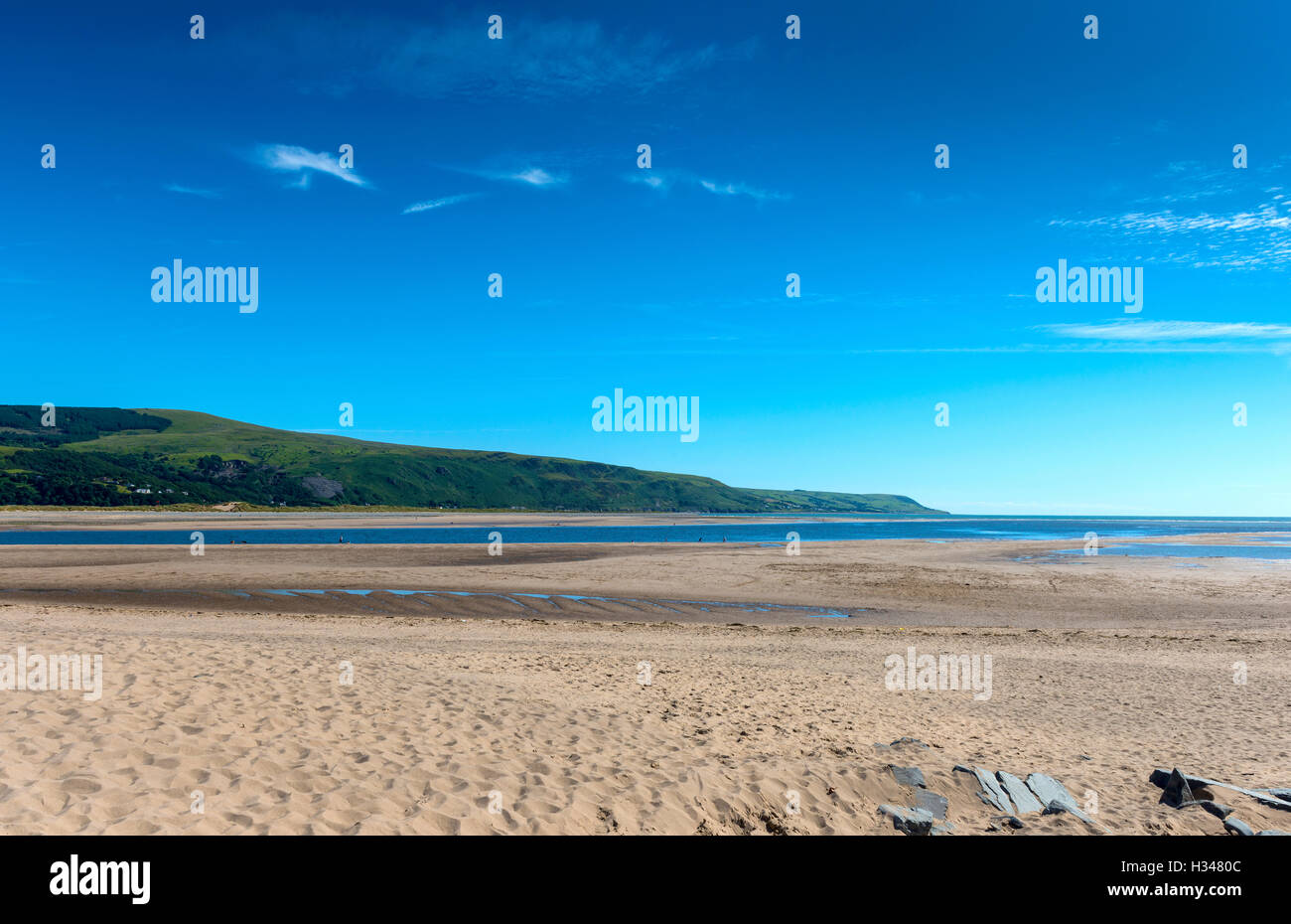 Barmouth Estuary at Low Tide, Gwynedd, North West Wales, UK Stock Photo
