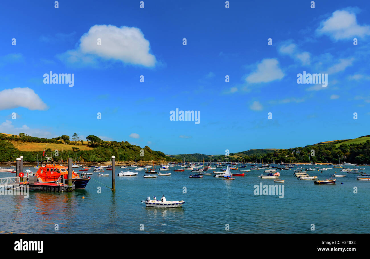 Salcombe Harbor, South Hams, Devon, UK Stock Photo