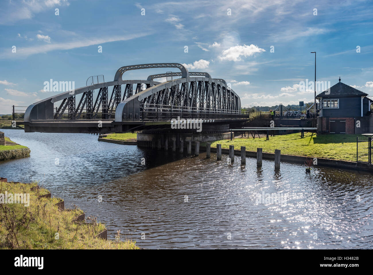 The swingbridge at Sutton Weaver on the river Weaver, West Cheshire North West England. - Stock Image