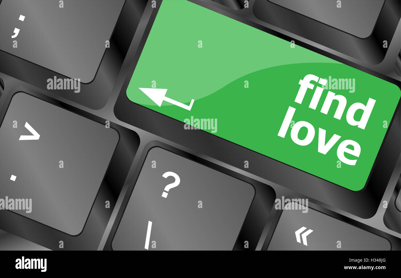 A keyboard with a find love button - social concept - Stock Image