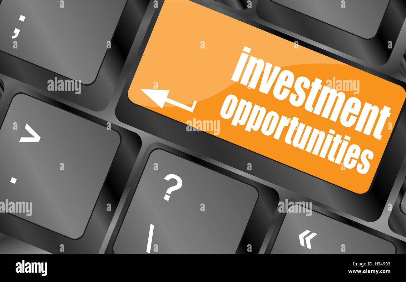 invest or investing concepts, with a message on enter key or keyboard. - Stock Image