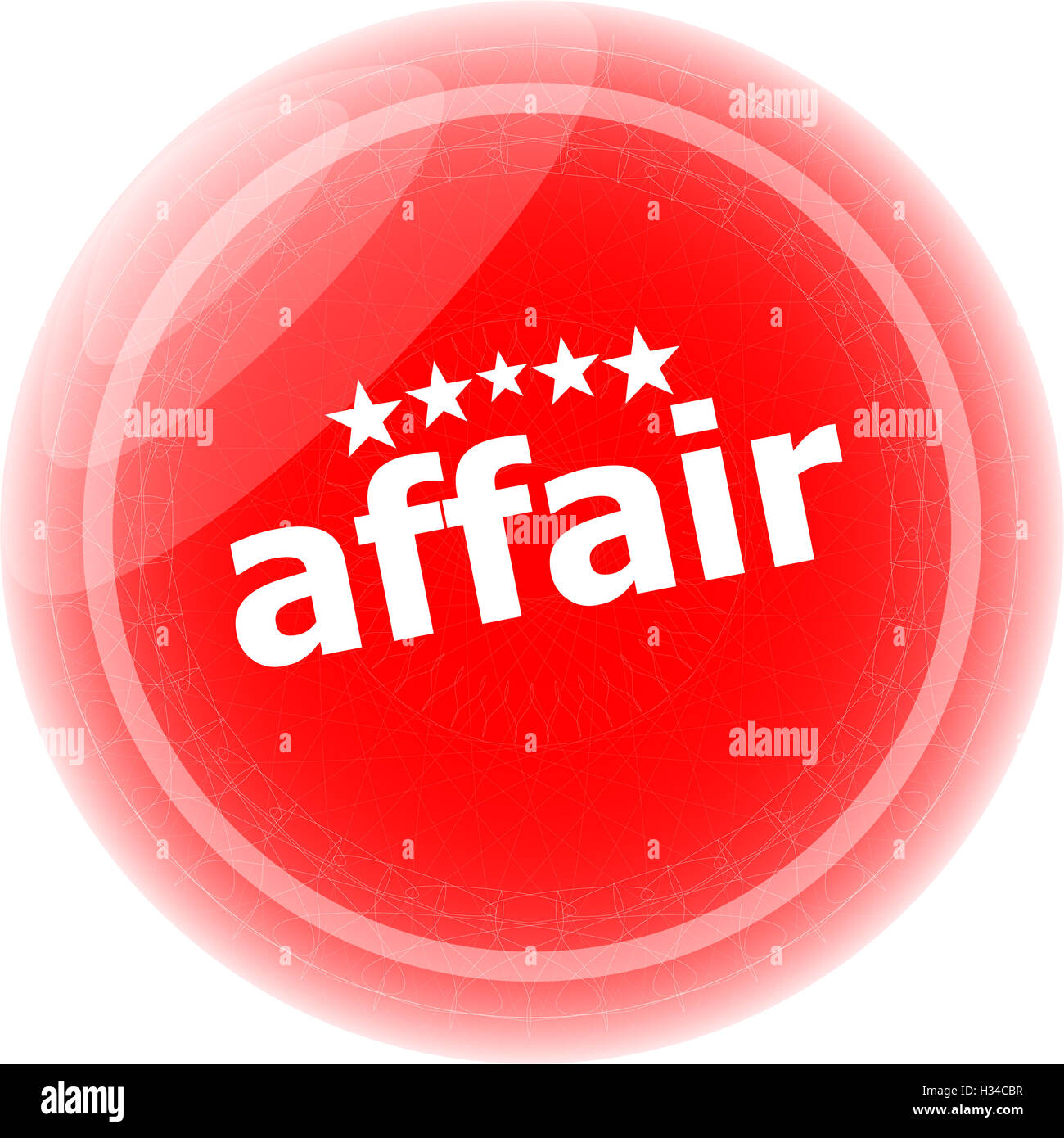 affair word red stickers, icon button, business concept - Stock Image