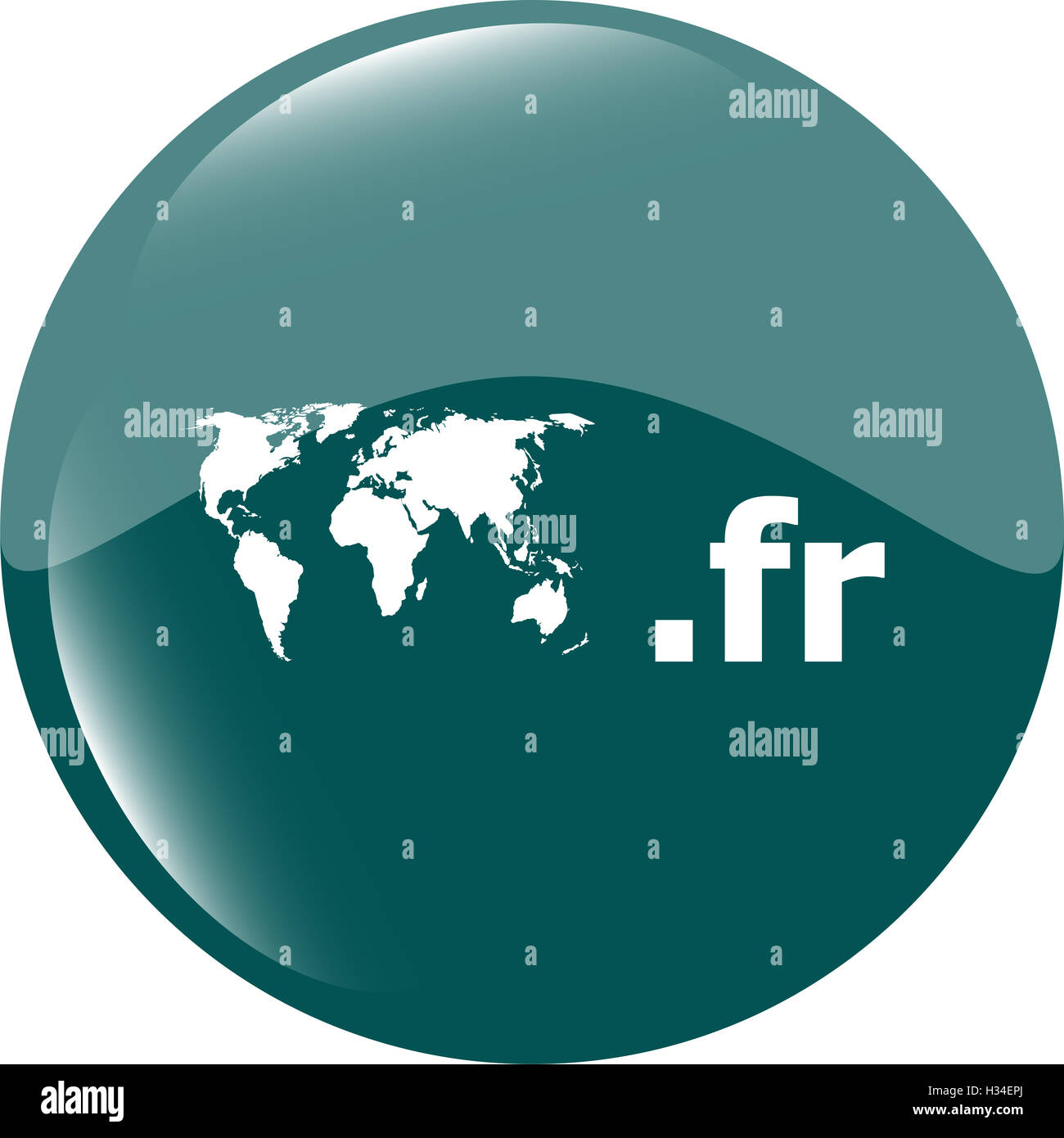 Domain FR sign icon. Top-level internet domain symbol with world map - Stock Image