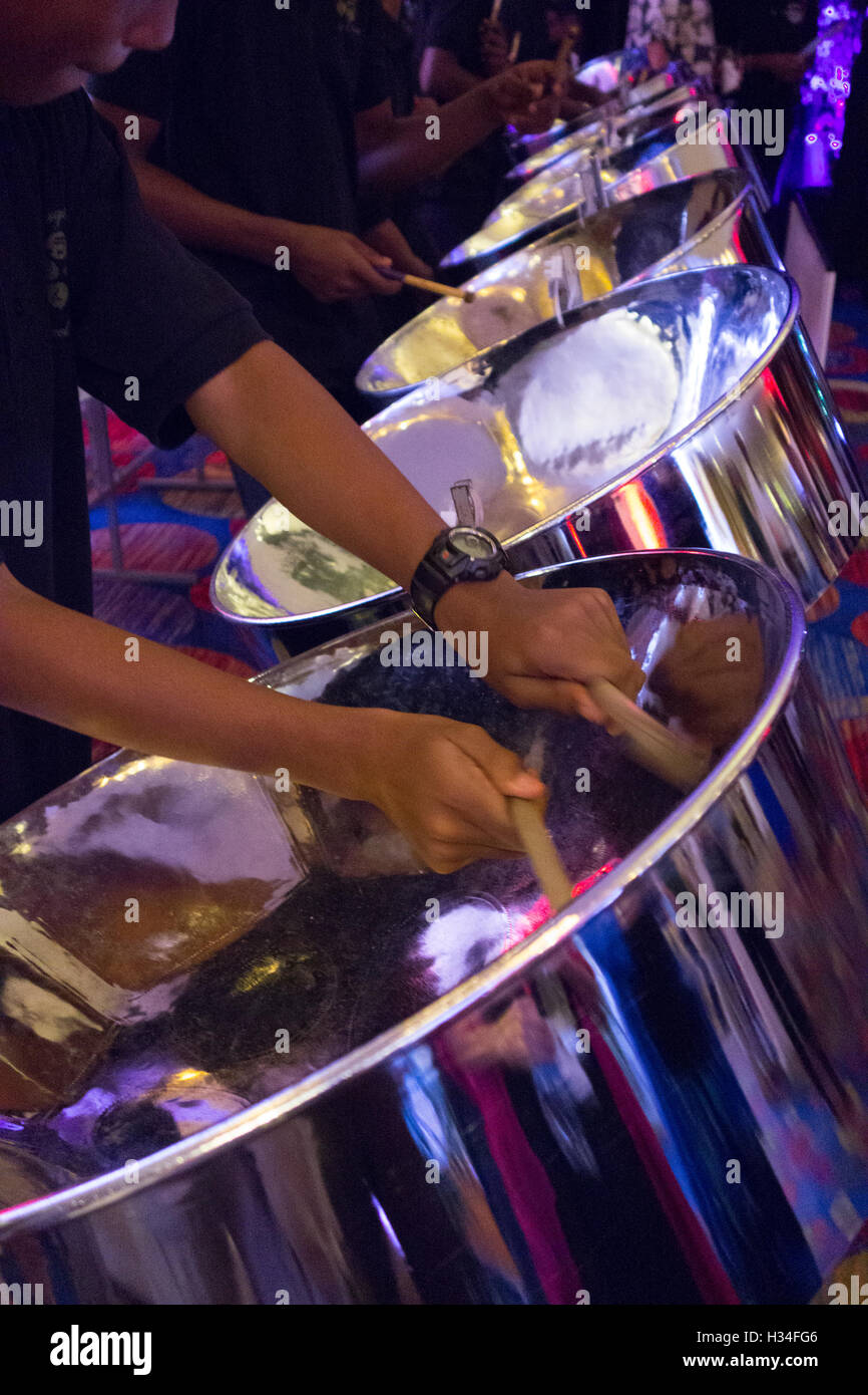 steel drum musical performance in Port of Spain Trinidad, Trinidad and Tobago Caribbean - Stock Image