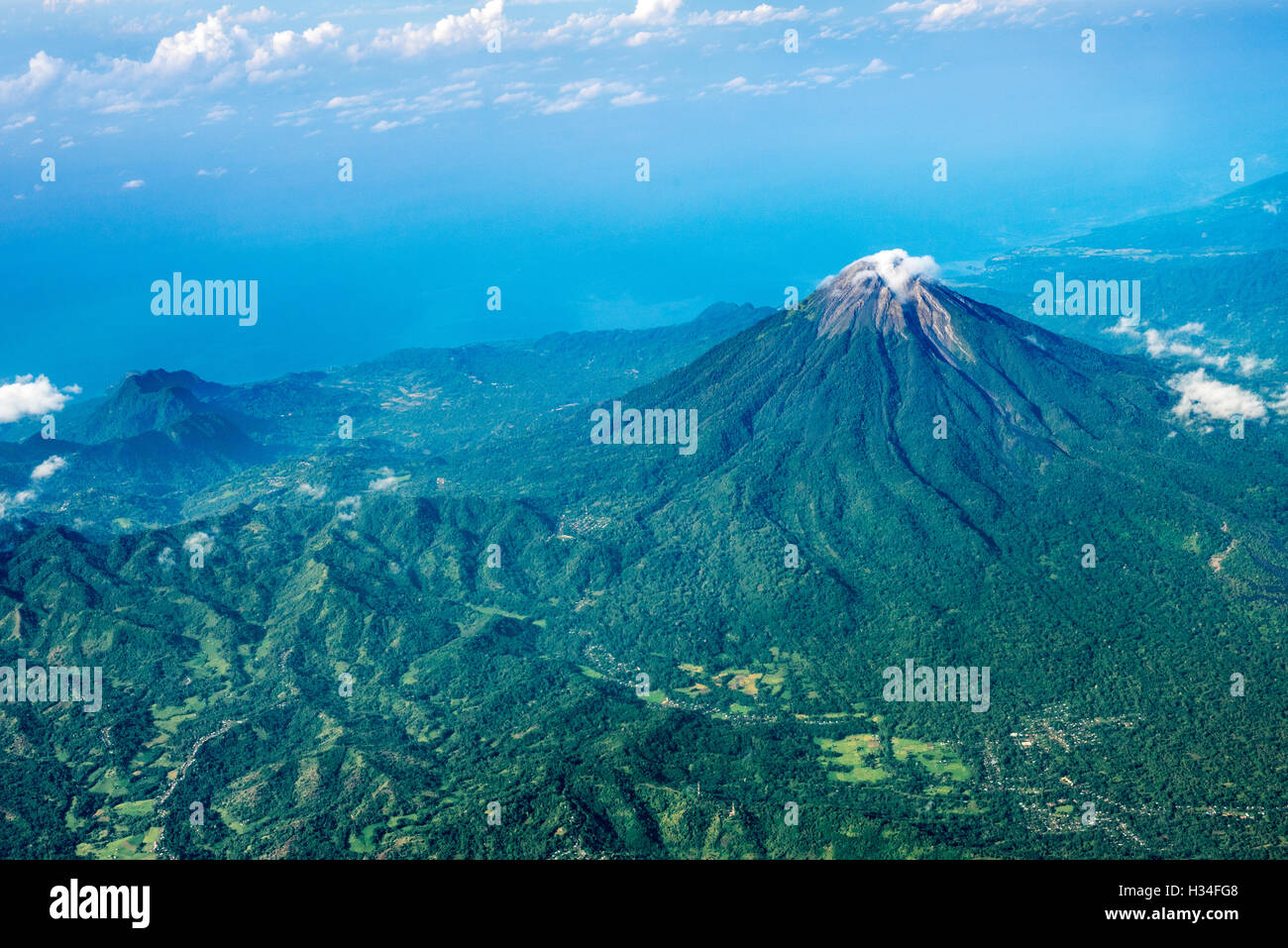 Aerial view of Mount Ebulobo volcano in Flores Island, Indonesia. - Stock Image