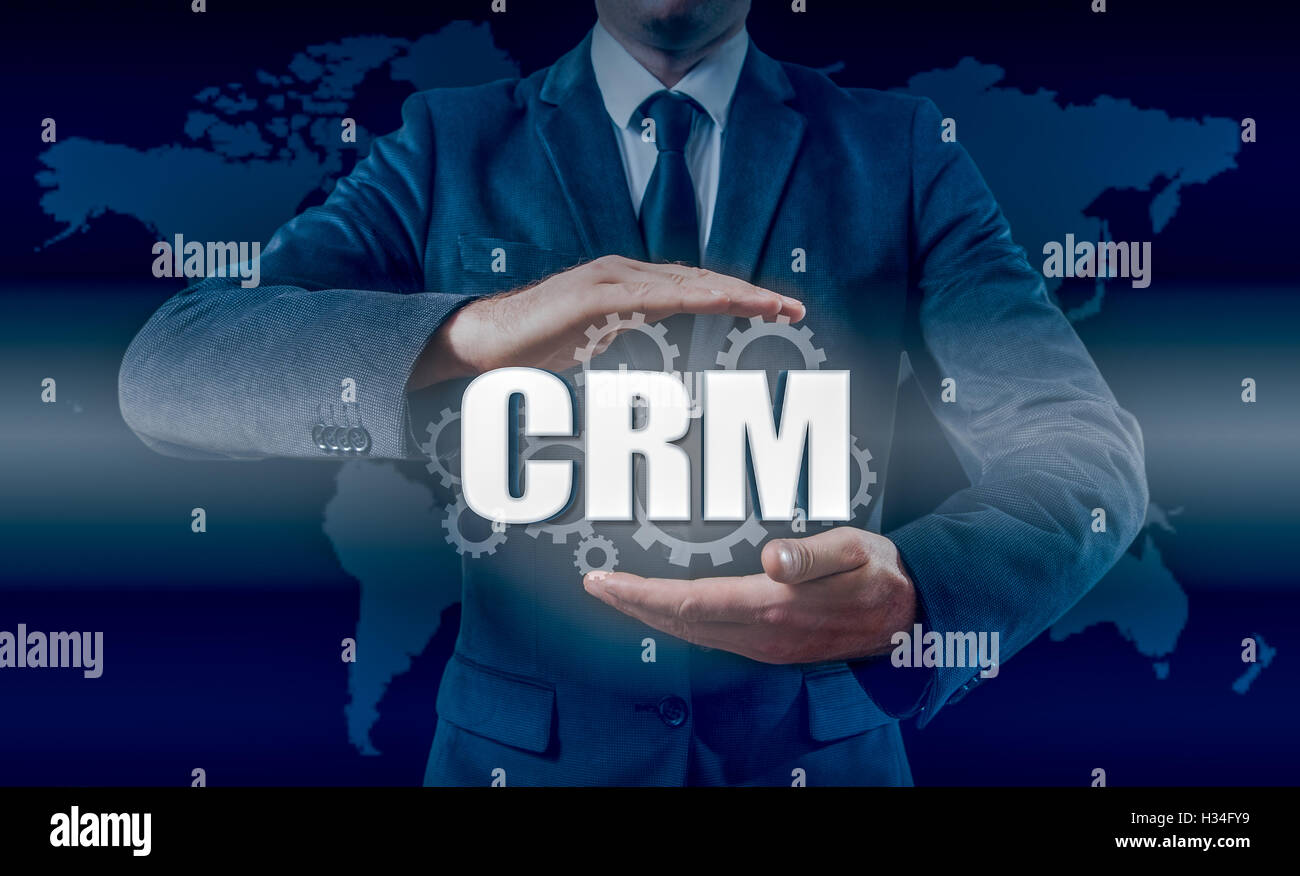 Customer relationship management concept man selecting CRM - Stock Image