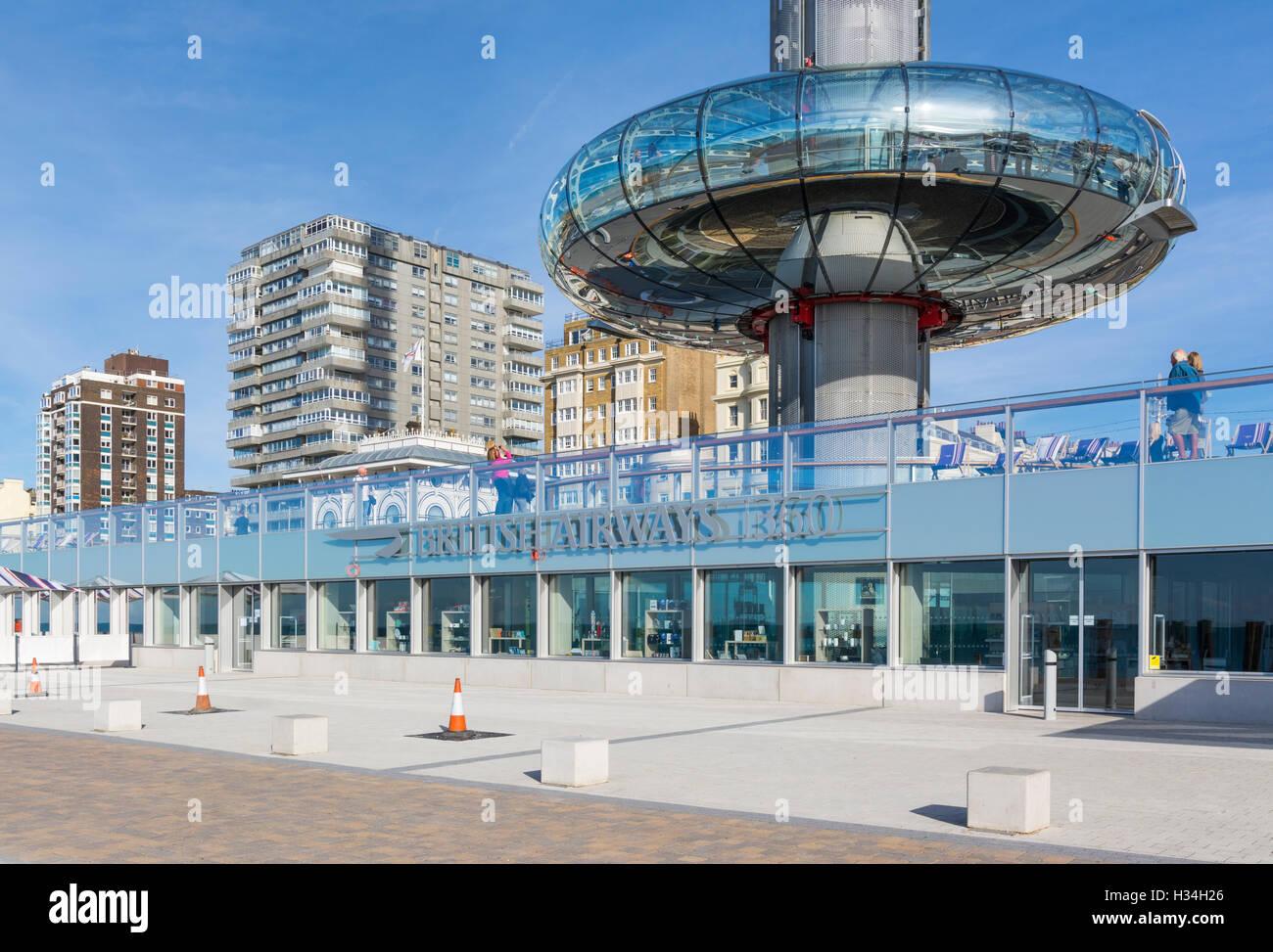 BA i360. British Airways i360 Observation Tower at ground level in Brighton, East Sussex, England, UK. i360 Brighton - Stock Image