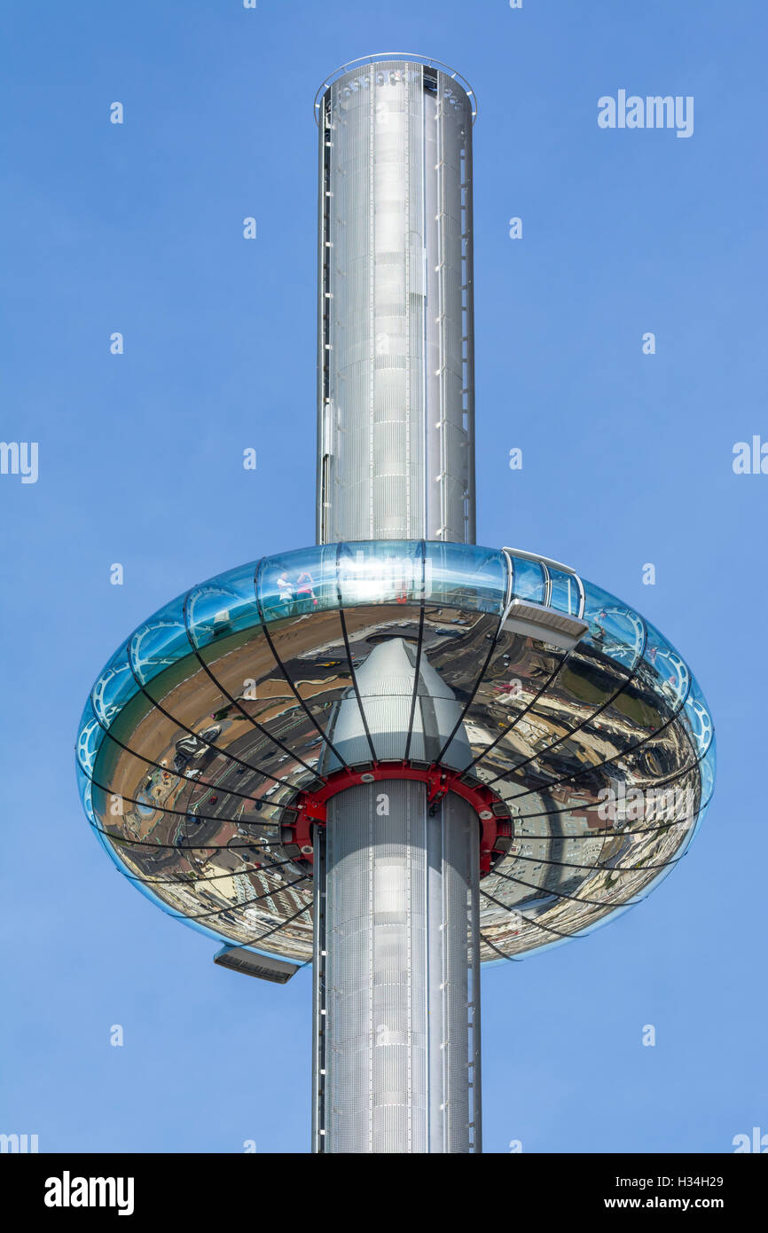 i360. British Airways i360 Observation Tower at it's highest position  in Brighton, East Sussex, England, UK. - Stock Image