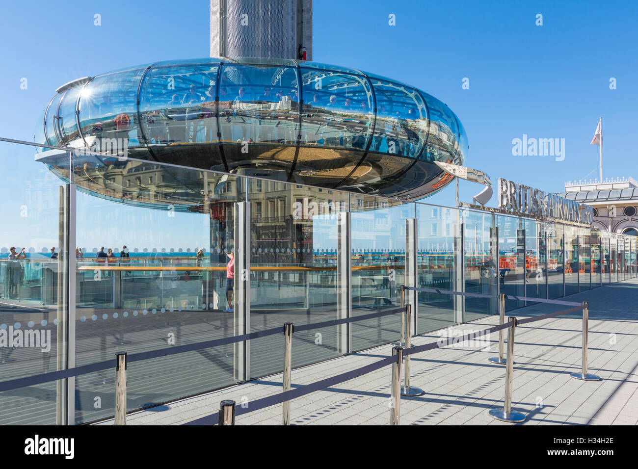 i360. British Airways i360 Observation Tower at ground level in Brighton, East Sussex, England, UK. - Stock Image