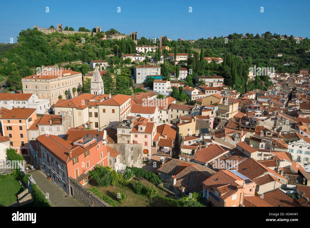 Above view of Piran with castle, Slovenia Stock Photo