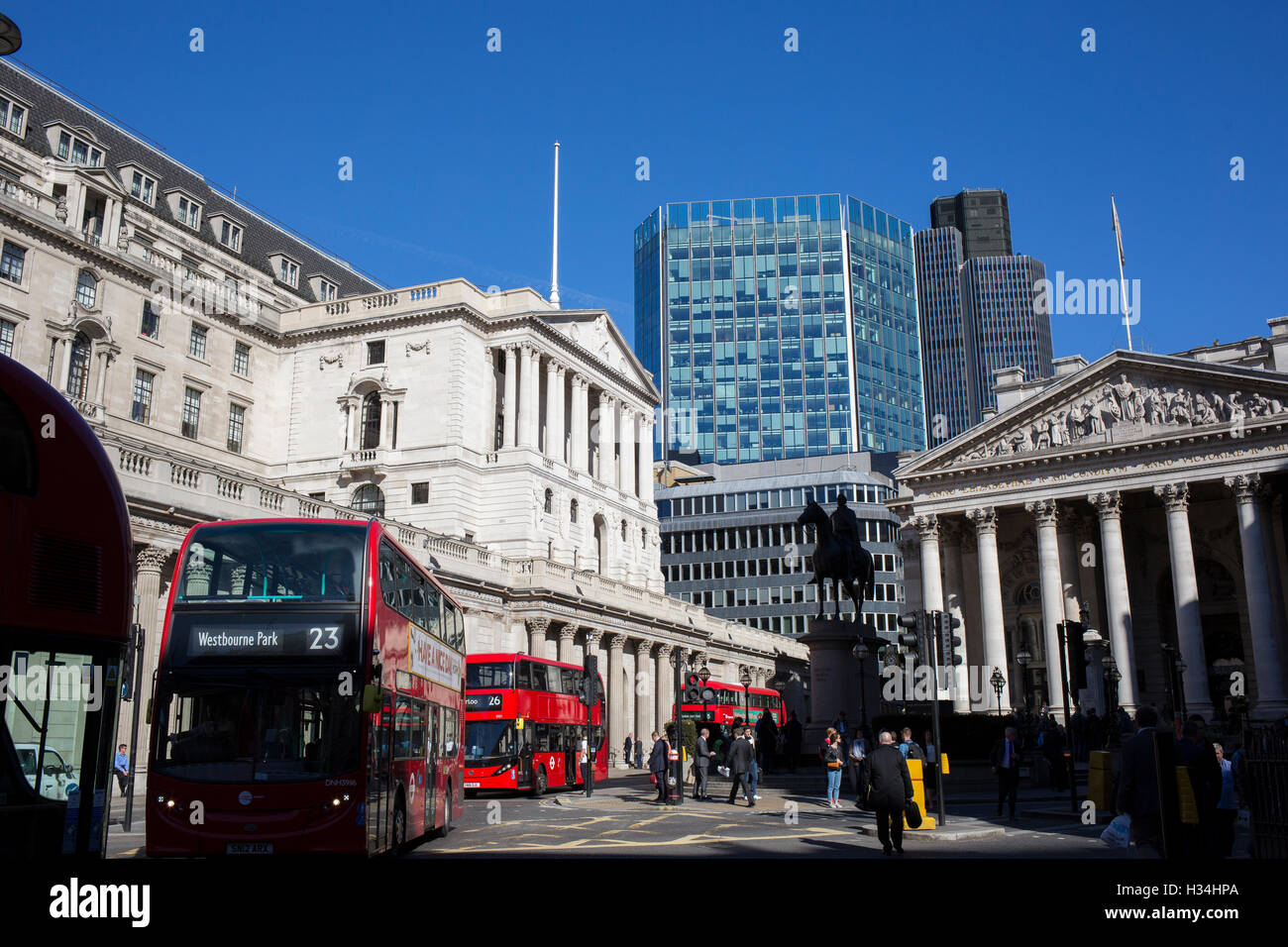 Bank of England, Threadneedle Street, London Exterior view - Stock Image