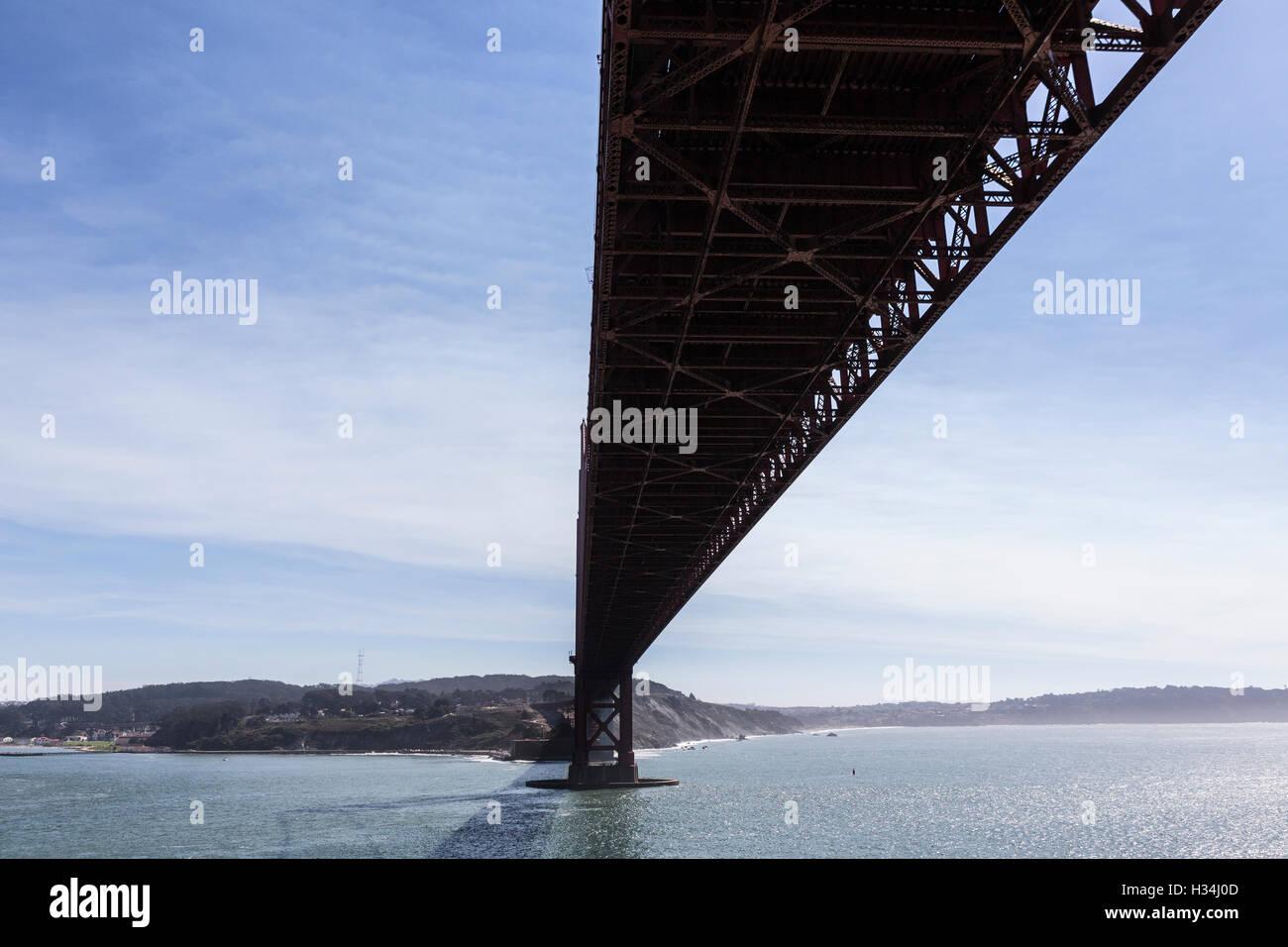 Under the Golden Gate bridge in San Francisco, California. - Stock Image