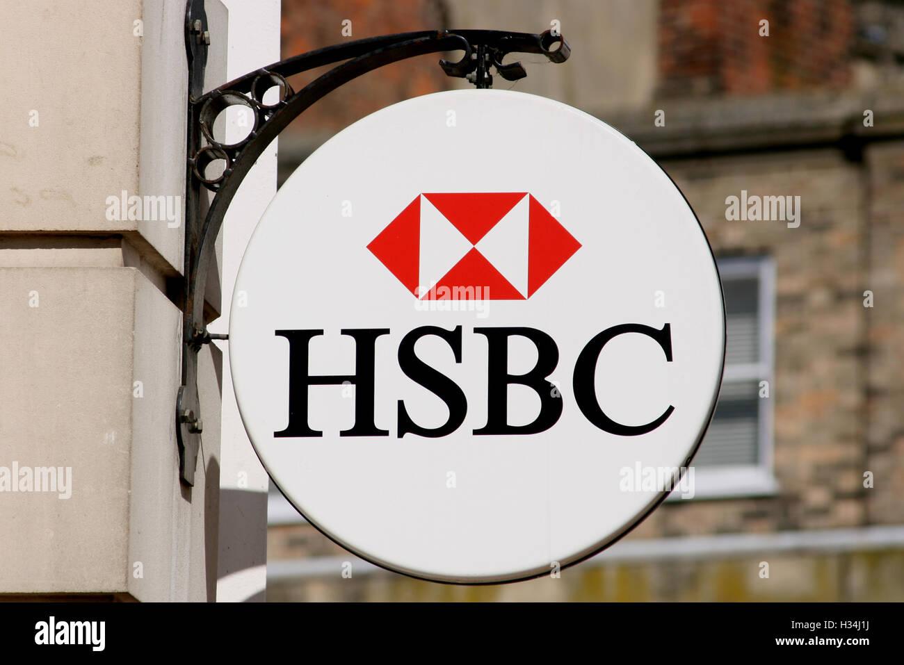 HSBC bank sign, High Street, Chelmsford, Essex, England - Stock Image