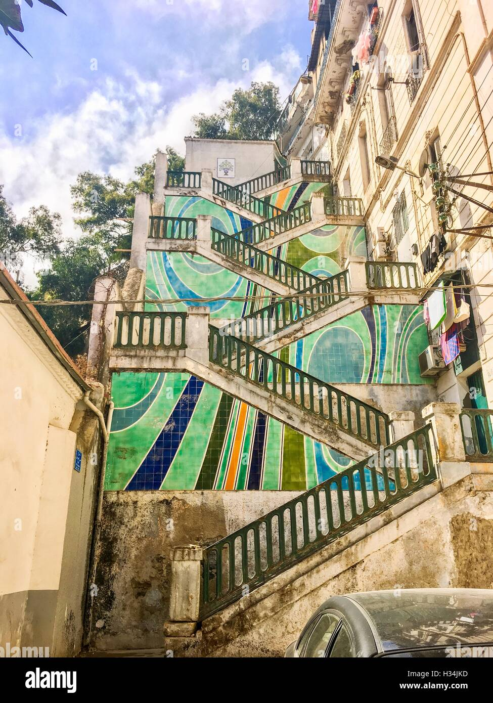 Colorful stairs in Algier city center, Algeria. Algiers has many upper districts, banlieue reached by stairs. - Stock Image